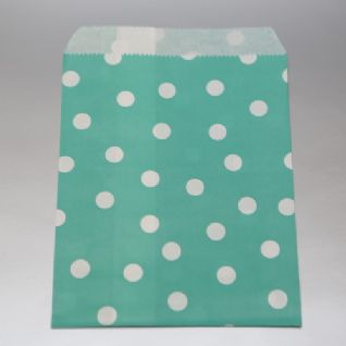 Dots dark mint Party bitty bags Set of 25/ Πουά σκούρο mint χαρτινα σακουλακια Σετ των 25